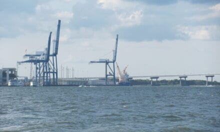 THE ARRIVAL OF THE FIRST SHIPPING CONTAINER AT THE NEW HUGH K. LEATHERMAN TERMINAL AT THE PORT OF CHARLESTON